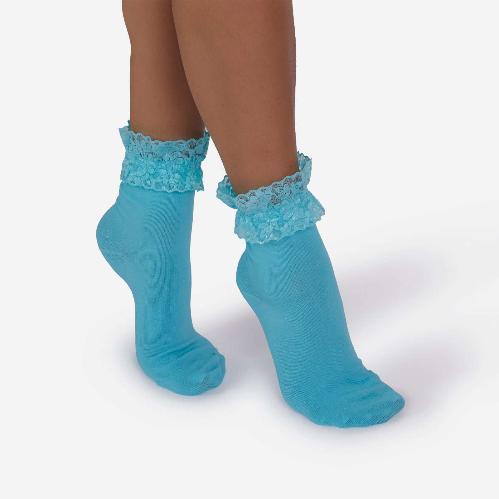 Frill Detail Ankle Sock In Blue
