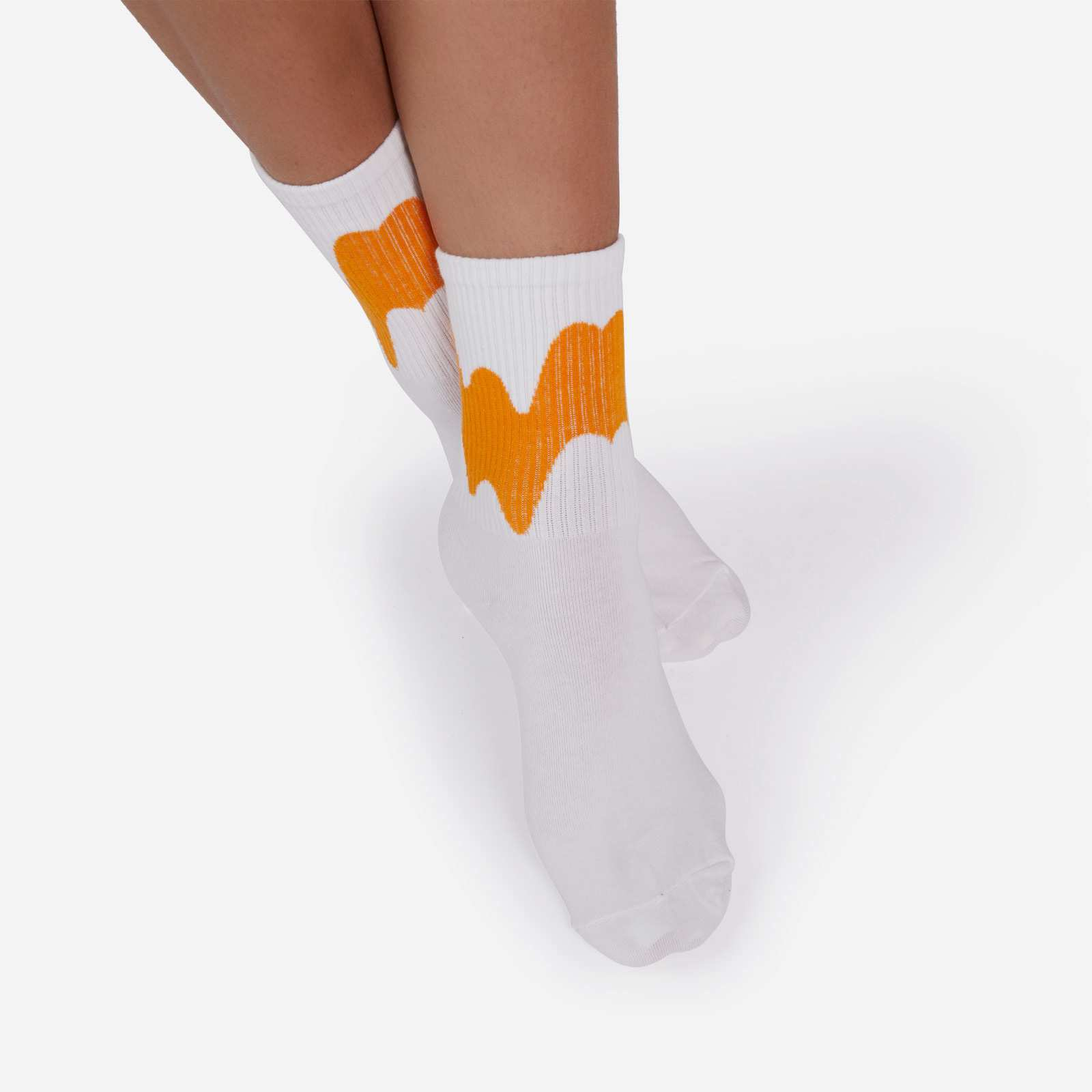 Multi Coloured Detail Sock In Orange