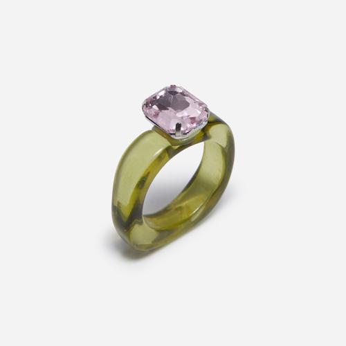 Gem Detail Plastic Ring In Green