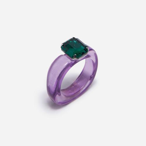 Gem Detail Plastic Ring In Purple