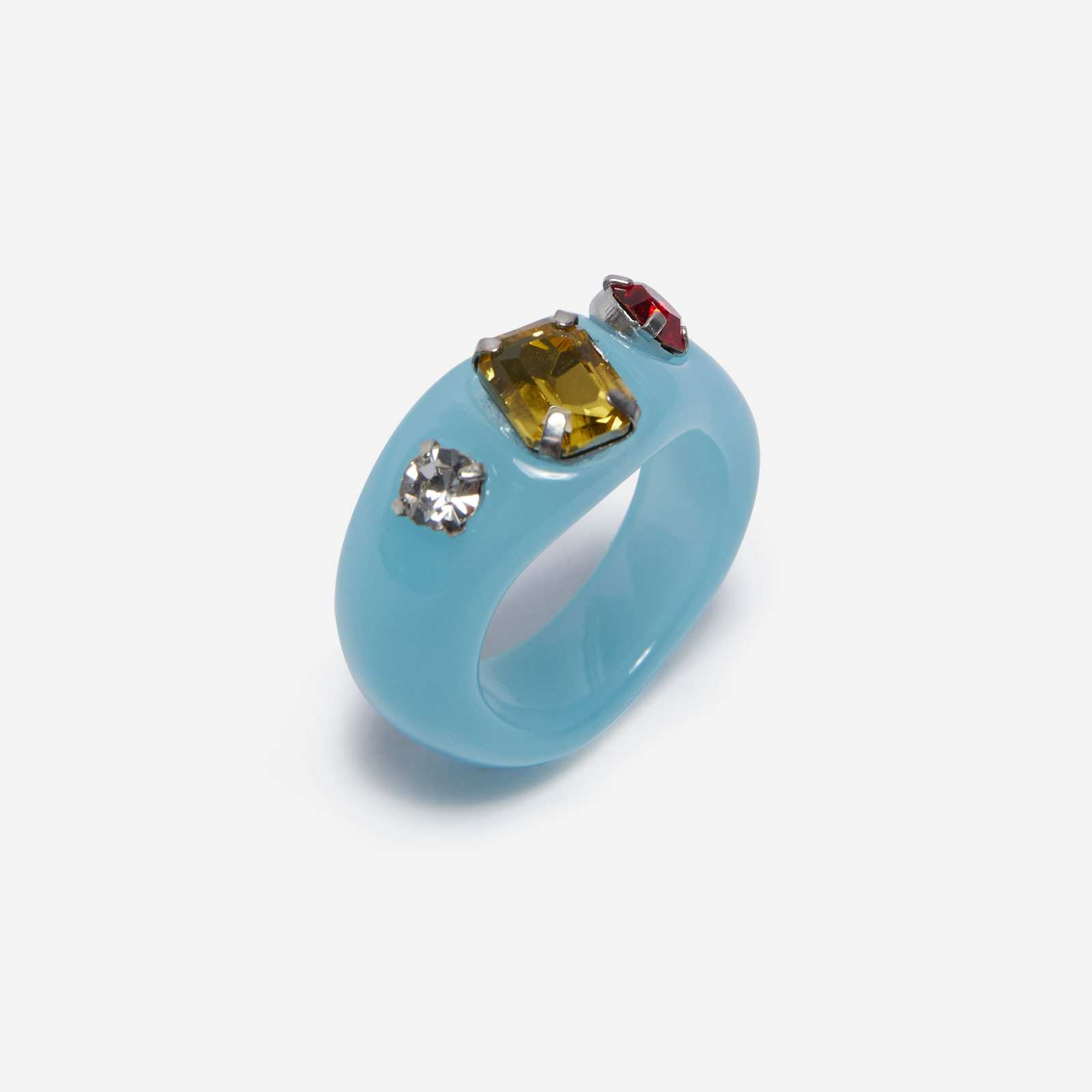 Gem Detail Dome Ring In Blue