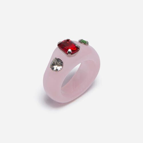 Gem Detail Dome Ring In Pink