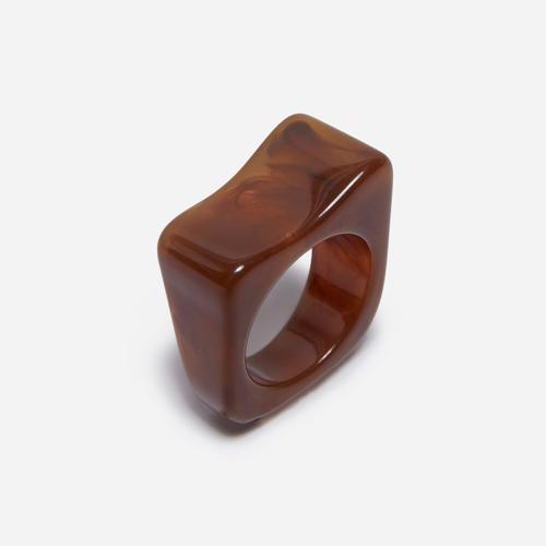 Oversized Square Resin Ring In Brown