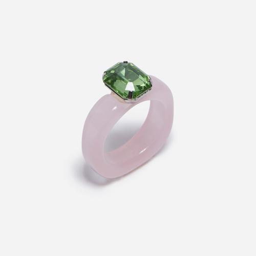 Gem Detail Plastic Ring In Pink