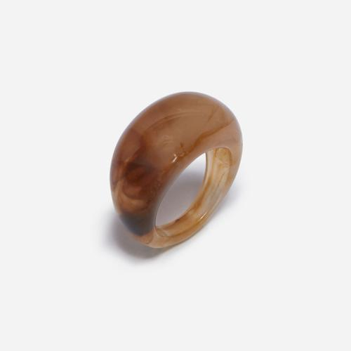 Dome Resin Ring In Brown
