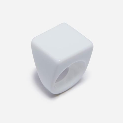 Square Plastic Ring In White