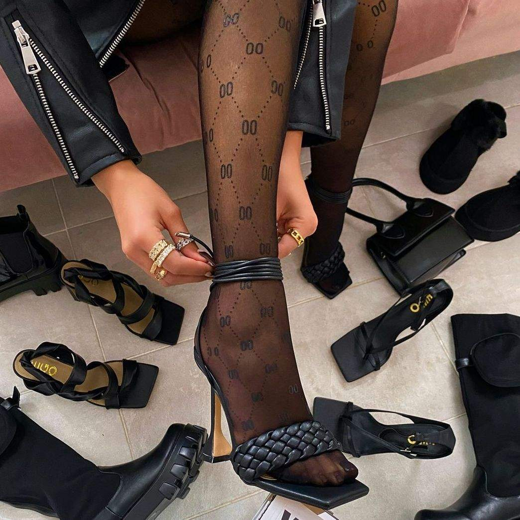 Logo Patterned Tights In Black