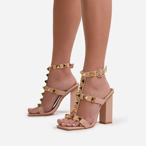 Malaga Studded Detail Caged Square Toe Block Heel In Nude Faux Leather