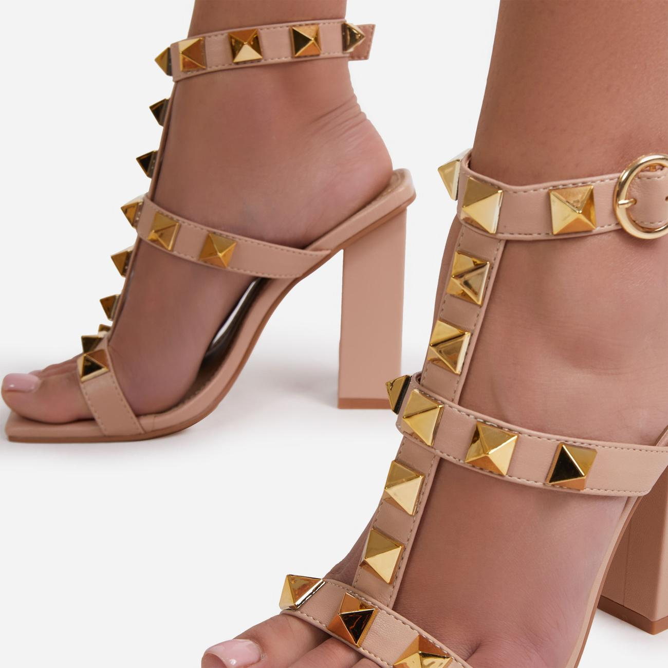 Malaga Studded Detail Caged Square Toe Block Heel In Nude Faux Leather Image 2