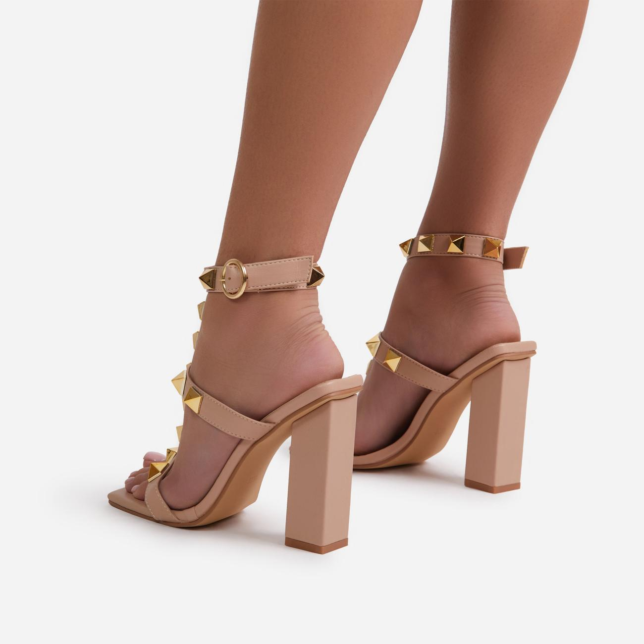 Malaga Studded Detail Caged Square Toe Block Heel In Nude Faux Leather Image 3