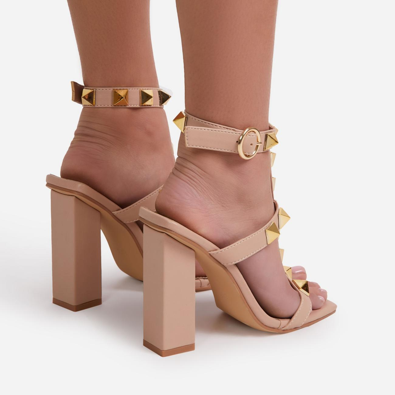Malaga Studded Detail Caged Square Toe Block Heel In Nude Faux Leather Image 4