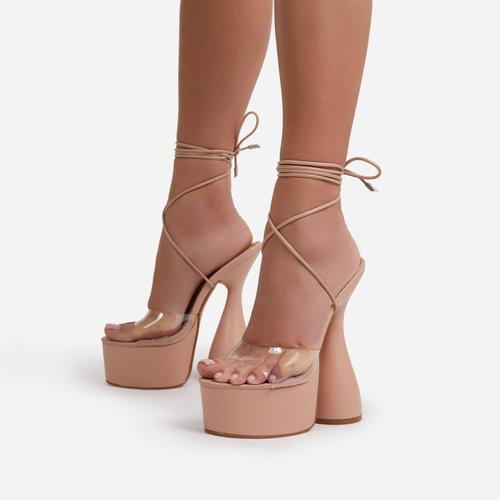 Bite-Me Lace Up Peep Toe Clear Perspex Platform Statement Heel In Nude Faux Leather