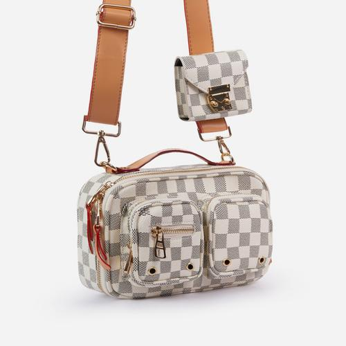 Tate Multi Pocket And Purse Detail Cross Body Bag In Grey Check Print Faux Leather