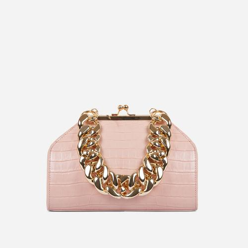 Tuco Chunky Chain Detail Boxy Grab Bag In Nude Croc Patent