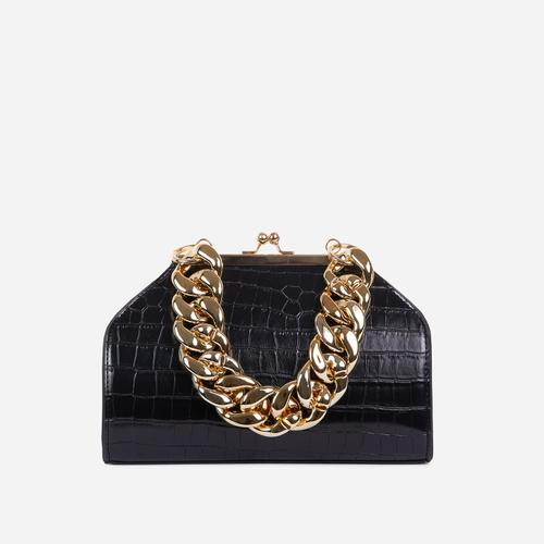 Tuco Chunky Chain Detail Boxy Grab Bag In Black Croc Patent