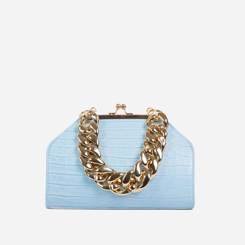Tuco Chunky Chain Detail Boxy Grab Bag In Blue Croc Patent