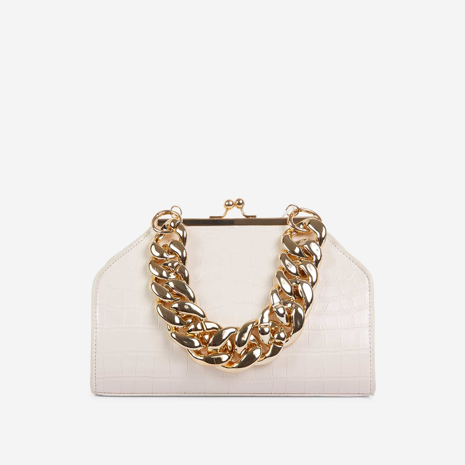 Tuco Chunky Chain Detail Boxy Grab Bag In White Croc Patent