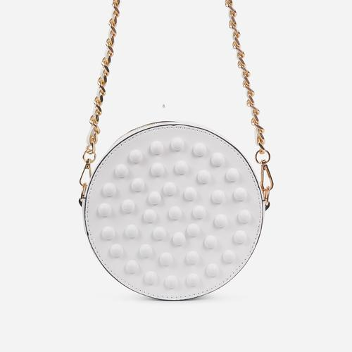 Parade Stud Detail Round Cross Body Bag In White Faux Leather