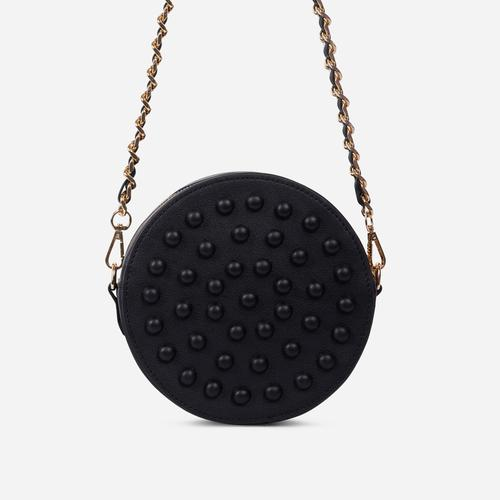 Parade Stud Detail Round Cross Body Bag In Black Faux Leather