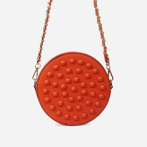 Parade Stud Detail Round Cross Body Bag In Orange Faux Leather