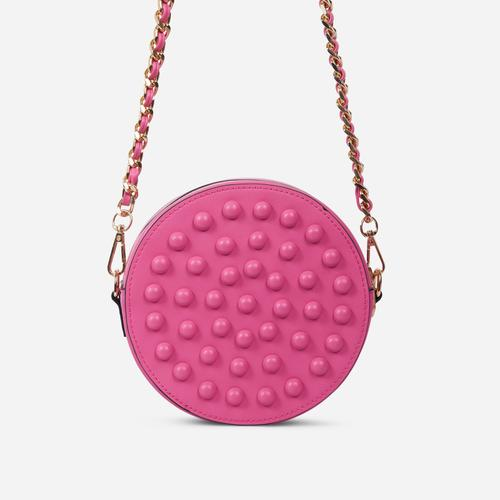 Parade Stud Detail Round Cross Body Bag In Pink Faux Leather