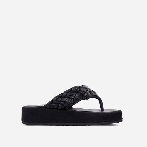 Morocco Braided Thong Strap Chunky Sole Flat Sandal In Black Faux Leather
