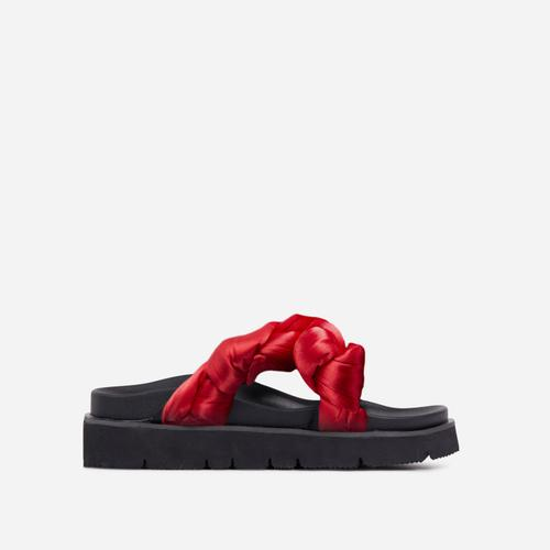 Zurich Knot Detail Chunky Sole Flatform Slider Sandal In Red Satin
