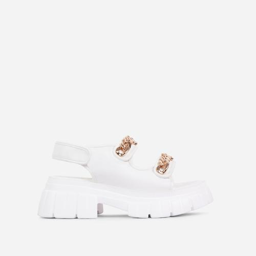 Miami Chain Detail Chunky Sole Double Strap Flat Dad Sandal In White Faux Leather