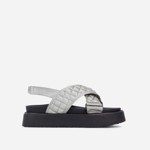 Squad Quilted Cross Over Strap Flat Dad Sandal In Grey Nylon