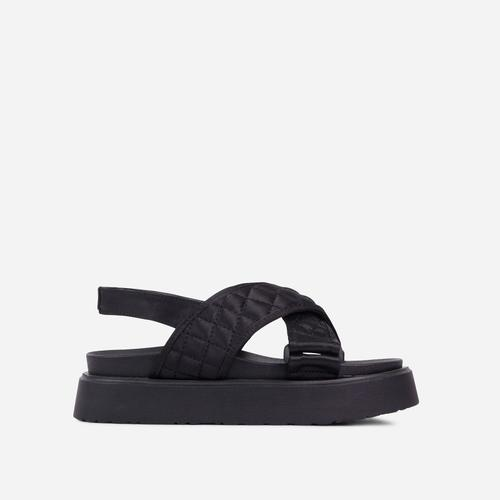 Squad Quilted Cross Over Strap Flat Dad Sandal In Black Nylon