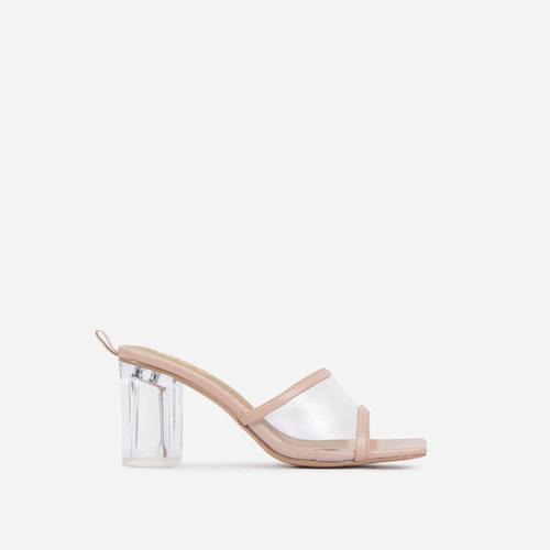 Bora Wide Fit Square Peep Toe Clear Perspex Block Heel Mule In Nude Faux Leather