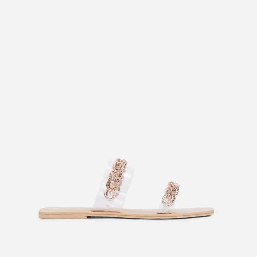 Illusion Diamante Chain Detail Clear Perspex Flat Slider Sandal In Nude Faux Leather