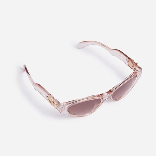 Wave Detail Sunglasses In Champagne