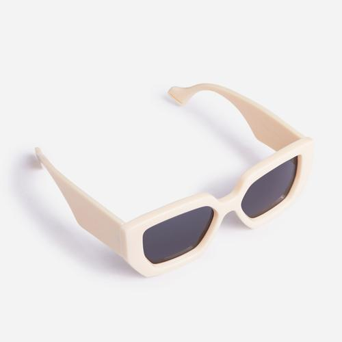 Oversized Hexagon Sunglasses In Nude