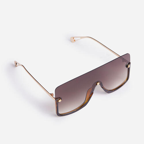 Frameless Oversized Flat Brow Sunglasses In Brown