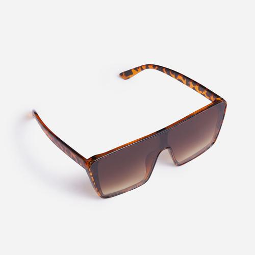 Sporty Oversized Visor Sunglasses In Leopard