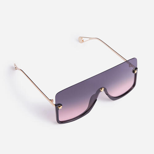 Frameless Oversized Flat Brow Sunglasses In Multi