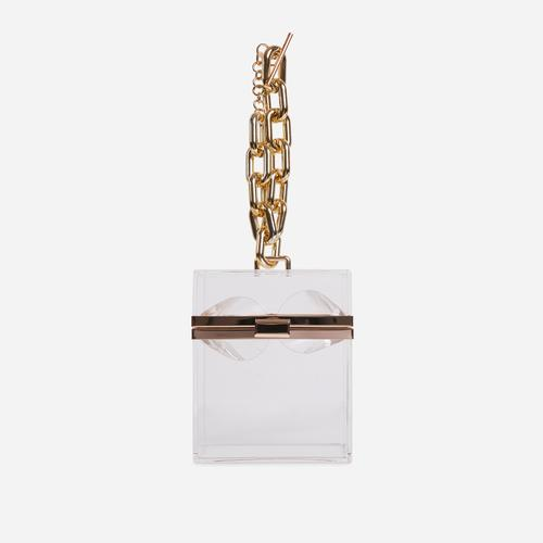Mila Chain Detail Vanity Bag In Clear Perspex