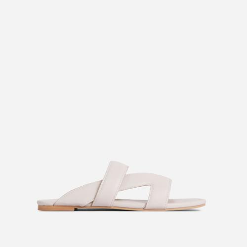 Ettika Multi Strap Detail Flat Slider Sandal In Cream Nude Faux Leather