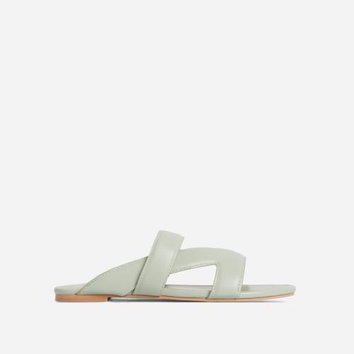 Ettika Multi Strap Detail Flat Slider Sandal In Mint Green Faux Leather