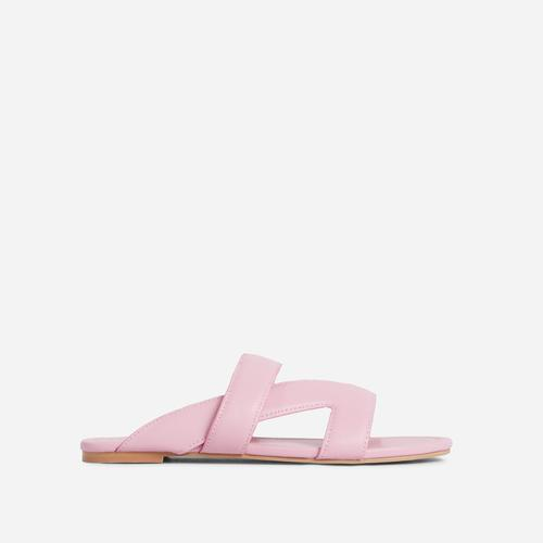 Ettika Multi Strap Detail Flat Slider Sandal In Pink Faux Leather
