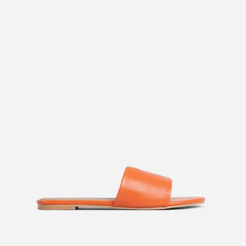 Tempo Wide Fit Flat Slider Sandal In Orange Faux Leather