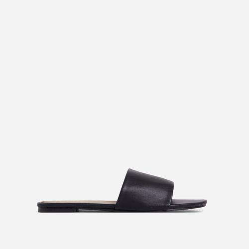 Tempo Flat Slider Sandal In Black Faux Leather