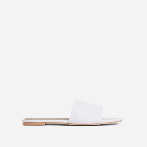 Tempo Flat Slider Sandal In White Faux Leather