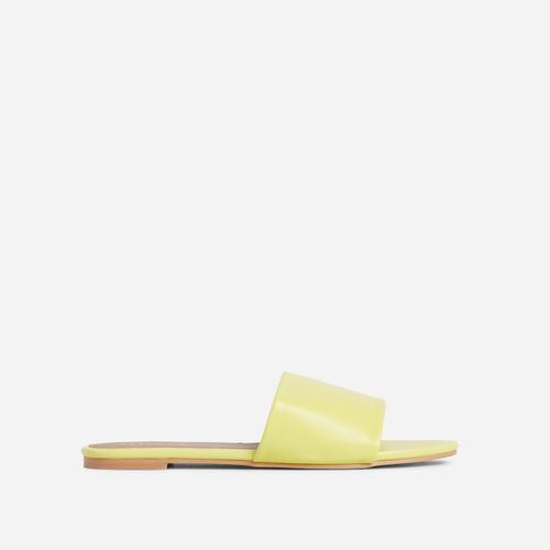 Tempo Wide Fit Flat Slider Sandal In Yellow Faux Leather