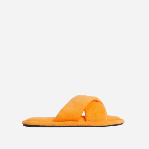 Good-Times Cross Strap Detail Flat Slider Sandal In Orange Terry Cloth Fabric