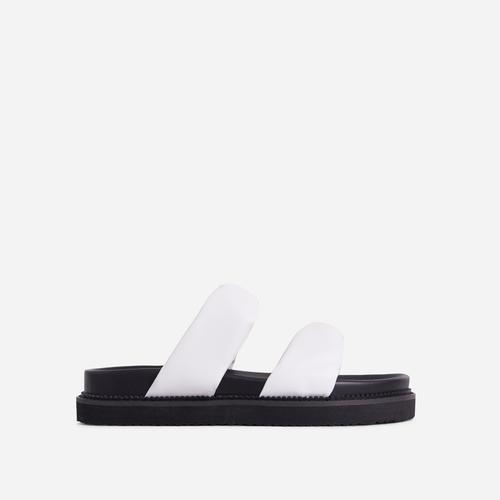 Discover Twisted Double Strap Chunky Sole Flat Slider Sandal In White Faux Leather