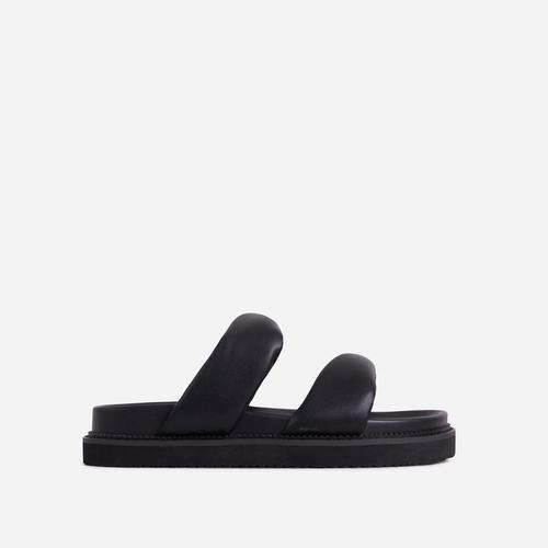 Discover Twisted Double Strap Chunky Sole Flat Slider Sandal In Black Faux Leather