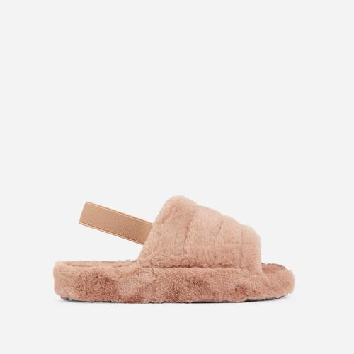 Boo Fluffy Stripe Slipper In Nude Faux Fur