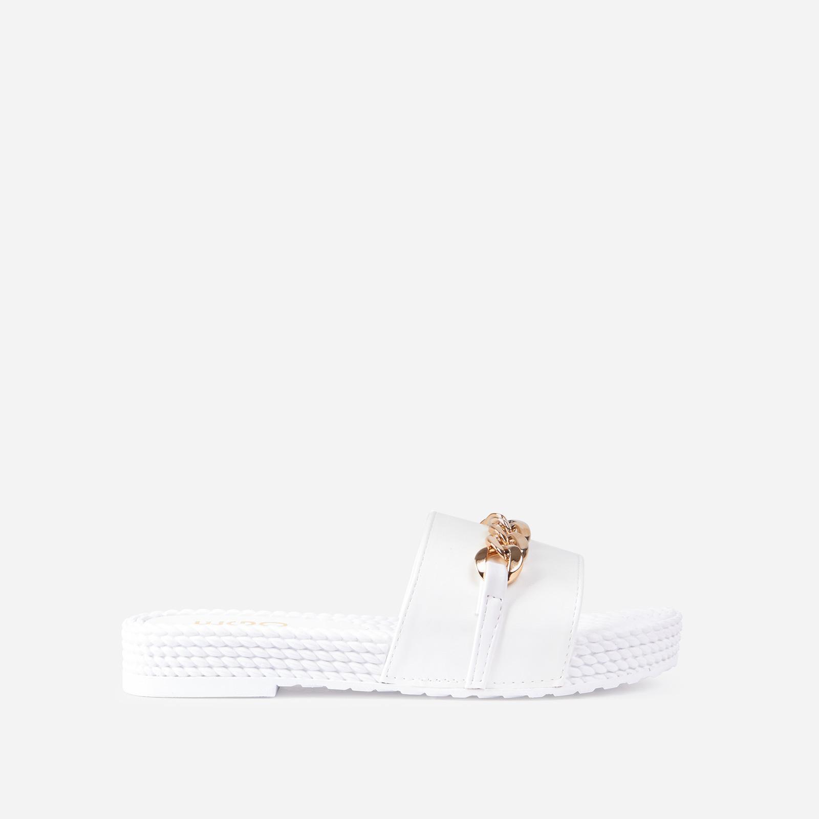 Mykonos Chain Detail Flat Slide Sandal In White Faux Leather, White